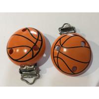 Pinza chupetero madera estampado Baloncesto 50x34 mm