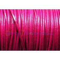 Cuero piel canguro redondo 1 mm . Color fucsia  (1 m)