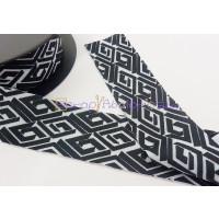 Cordon Lycra 30 mm. Estampado geometrico negro y blanco (50 cm )