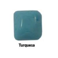 Piedra cristal de murano cuadrada 25x25 mm color turquesa
