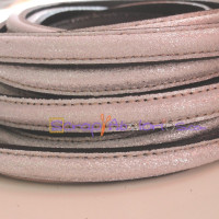 Cuero media caña 10 mm color PLATA  BRILLANTINA, 20 cm