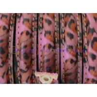 Cuero  media caña 10 mm plumas rosa , 20 cm