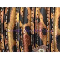 Cuero  media caña 10 mm leopardo charolado  , 20 cm