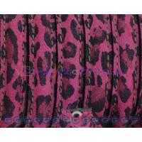 Cuero  media caña 10 mm leopardo negro/fucsia   , 20 cm