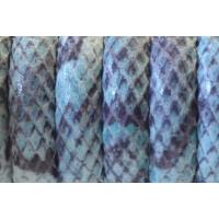 Cuero  media caña 10 mm estampado SERPIENTE azul, 20 cm