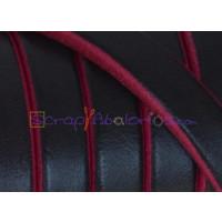 Cuero palote cosido bicolor 10X4,5 mm fucsia-negro 20 cm
