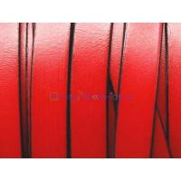 Cuero plano 10 mm, color rojo, seccion de 20 cm