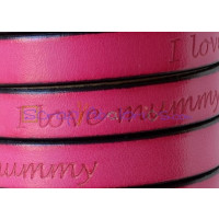 Cuero plano 10 mm color fucsia-I love mummy - Medio metro