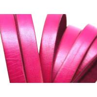Cuero plano 10 mm, color FUCSIA  cantos fucsia ( 20 cm)