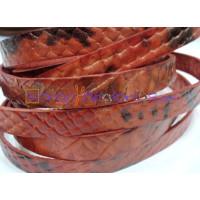 Cuero plano 10 mm grabado serpiente rojo (20 cm)