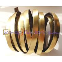 Cuero plano 10 mm oro metalizado (20 cm)