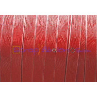 Cuero plano 10 mm micrograbado rojo (20 cm)