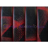 Cuero plano 10 mm estampado rojo y negro  (20 cm)