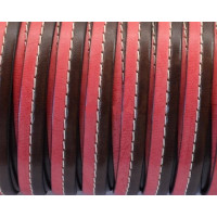 Cuero plano 10 mm bicolor cosido rojo-marrón  (20 cm)
