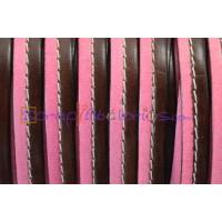 Cuero plano 10 mm bicolor cosido rosa-marrón  (20 cm)