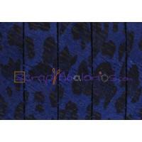 Cuero plano 10 mm piel de serraje leopardo azul (20 cm)