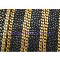 Cuero plano  piel pez marrón- cadena oro 10 mm  (20 cm)