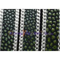 Cuero plano  piel pez verde- cadenita plateada 10 mm  (20 cm)