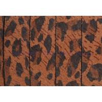 Cuero plano  piel serraje leopardo marrón 10 mm  (20 cm)