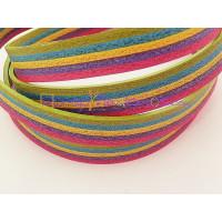 Cuero plano multicolor crispalino 10 mm  (20 cm)