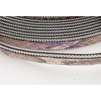 Cuero plano 14 mm serpiente cadena plateada ( 20 cm)