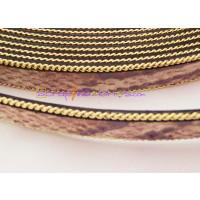 Cuero plano 14 mm serpiente cadena dorada ( 20 cm)