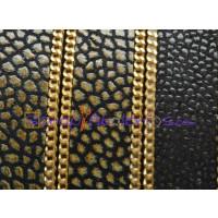 Cuero plano piel pez  marrón - cadena dorado 15 mm negro (20 cm)