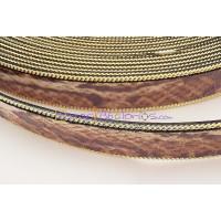 Cuero plano 20 mm piel serpiente cadena dorada  (20 cm)