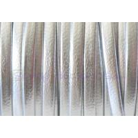Cuero plano 3 mm, color plateado ( 1 metro)
