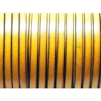 Cuero plano 5  mm, COLOR AMARILLO, grosor 1.5 mm ( 20 cm)