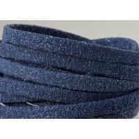 Cuero, tira plana 5 mm, Azul marino purpurina (19 cm)