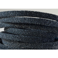 Cuero, tira plana 5 mm, negro purpurina (19 cm)