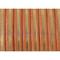 Cuero plano 5  mm, color Natural-dorado, grosor 1.5 mm ( 20 cm)
