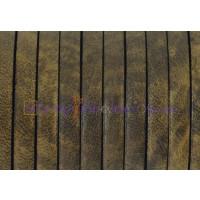 Cuero plano 5  mm, color Bronce, grosor 1.5 mm ( 20 cm)
