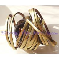 Tireta cuero plano 5 mm oro metalizado ( 20 cm)