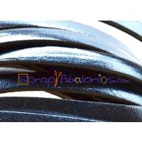Tireta cuero plano 5 mm azul  metalizado  ( 20 cm)