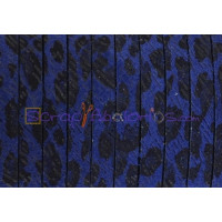 Cuero plano 5 mm piel de serraje leopardo azul ( 20 cm)