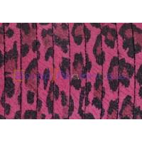 Cuero plano 5 mm piel de serraje leopardo fucsia ( 20 cm)