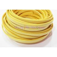 Cuero plano 5 mm amarillo pastel , grosor 1.5 mm ( 20 cm)