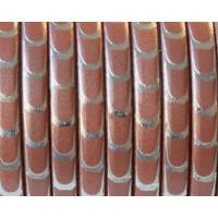 Cuero plano 5 mm rosa metalizado con escamas ( 20 cm)