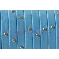 Cuero plano 5 mm denver azul tachuelas , grosor 1.5 mm ( 20 cm)