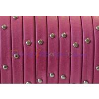 Cuero plano 5 mm denver fucsia tachuelas, grosor 1.5 mm ( 20 cm)