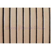 Cuero plano 5 mm color  natural borde negros 1.5 mm ( 20 cm)