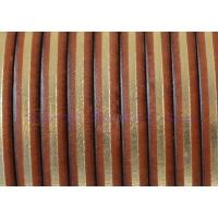 Cuero plano 5 mm color coñac- dorado 1.5 mm ( 20 cm)