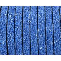 Cuero plano 5 mm destellos brillantes azul 20 cm