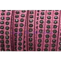 Cuero plano 6 mm rosa con strass (20 cm)