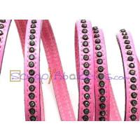 Cuero plano 8 mm  rosa con strass  20 cm