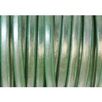 Cuero oval 10x6 mm ( cuero regaliz) color pistacho metal, 20 cm