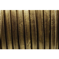 Cuero oval 10x6 mm ( cuero regaliz) color oro viejo, 20 cm
