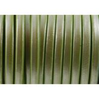 Cuero oval 10x6 mm ( cuero regaliz) verde manzana metal , 20 cm